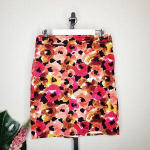 Ann Taylor Watercolor Floral Vibrant Pencil Skirt